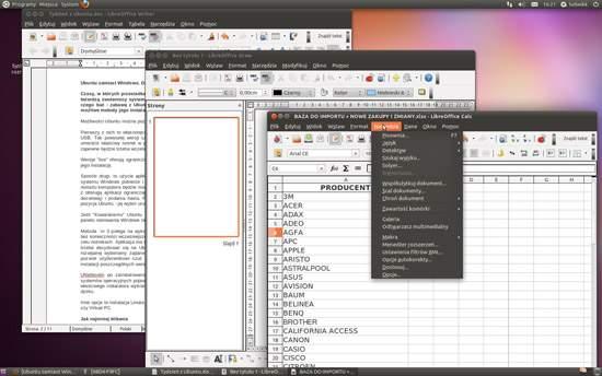 Ubuntu 11.04. W skład Libre Office wchodzi m.in. edytor tekstu Writer, arkusz kalkulacyjny Calc i narzędzie do rysowania wykresów i logotypów Draw