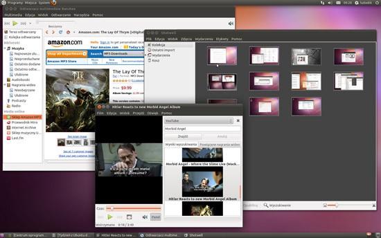 Ubuntu 11.04. Wbudowane aplikacje multimedialne: Banshee (muzyka), Totem (filmy), Shotwell (obrazy)