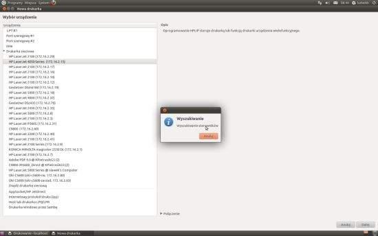 Ubunt 11.04. System bez problemu wyszukuje dostępne drukarki sieciowe