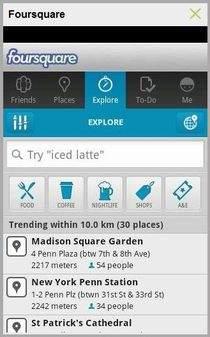 Foursquare pozwala nie tylko meldować się, ale także dyskutować ze znajomymi i oceniać miejsca, w których się było i dawać wskazówki innym użytkownikom.