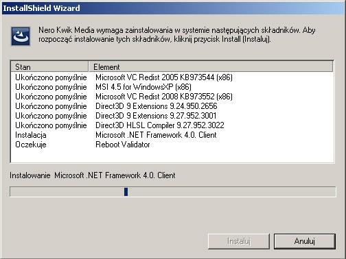 Nero Kwik Media - instalowanie brakujących komponentów