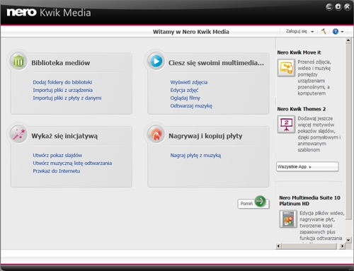 Nero Kwik Media - interfejs programu