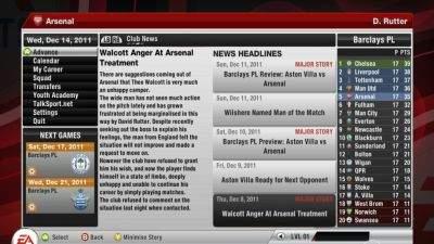 Ekran wiadomości w FIFA 12