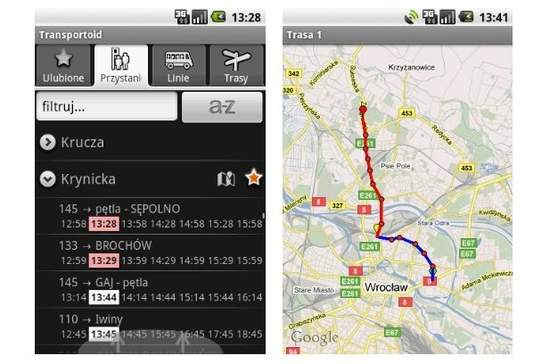 Transportoid - rozkład jazdy na Androida zawsze pod ręką