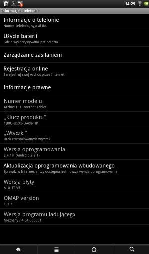 Informacje o systemie w tablecie Archos 101 Internet Tablet