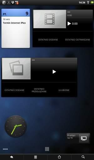 Widgety w tablecie Archos 101 Internet Tablet