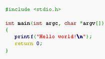 Przykład kodu źródłowego w języku C (źródło: Wikipedia.pl)
