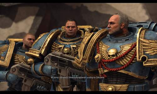 Warhammer 40.000 Space Marine: główny bohater (pośrodku) i towarzysze broni