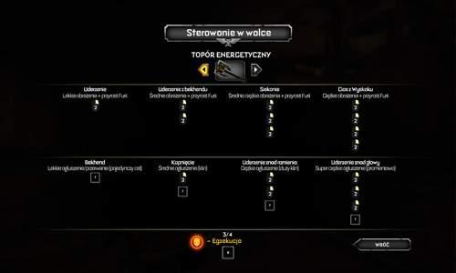 Rozgrywka w Warhammerze 40.000 Space Marine pozwala zadawać bronią białą ciosy specjalne i kombinacje, różne dla różnych typów broni.