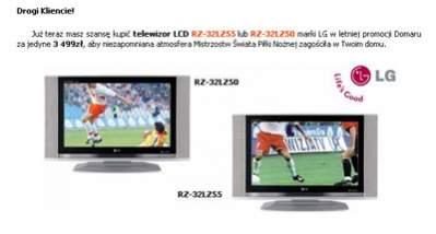 Przykład reklamy bezpośredniej - znaleziona w mailu oferta promocyjna na telewizory LCD