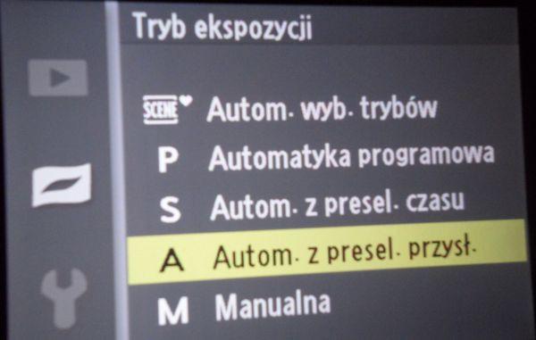 Nikon J1 tryby w menu