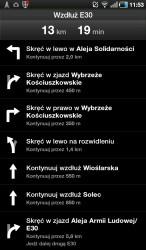 Lista etapów nawigacji