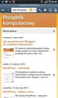 Lista artykułów w Bloggerze