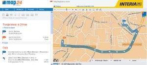 Wizualizacja trasy przejazdu na Map24.Interia.pl