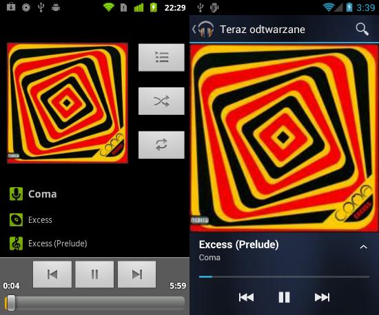 Aplikacja Muzyka z Gingerbread oraz Google Music z Ice Cream Sandwich