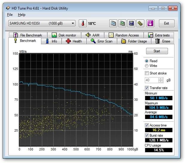 Iomega eGo Desktop Hard Drive 1TB (SKU#35055) - HD Tune Pro - prędkość odczytu
