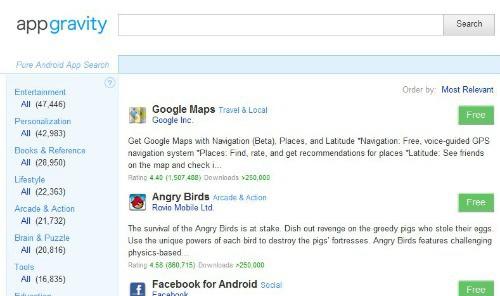 AppGravity po pierwszym wyszukiwaniu