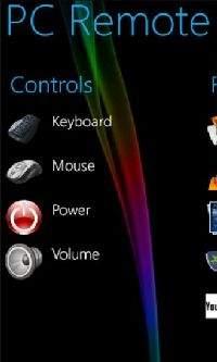 W głównym oknie PC Remote umieszczono kontrolki sterowania myszą i klawiaturą, dostęp do pulpitu został ukryty w opcjach