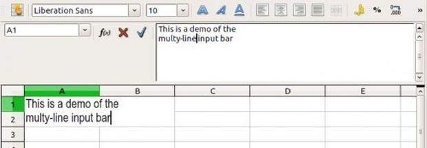 Pasek wpisywania w programie Calc