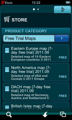 Mapy dostępne na testowy okres czasu możemy ściągnąć bezpośrednio z menu aplikacji
