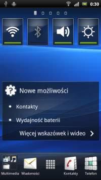 Sony Xperia Ray, homescreen
