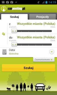 Aplikacja Carpooling na Androida - ekran główny