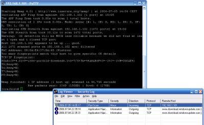 Sygate Personal Firewall wykrył skanowanie portów. Firewall wbudowany w SP2 też je zauważy, ale jedynym alarmem będzie większa liczba informacji w logu, który jest zakopany głęboko w katalogu Windows...