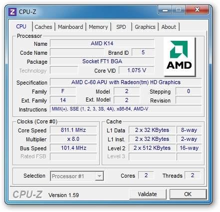 Acer Aspire One 722-C6Crr - AMD C-60