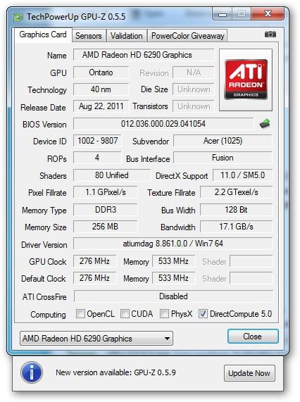 Acer Aspire One 722-C6Crr - VGA