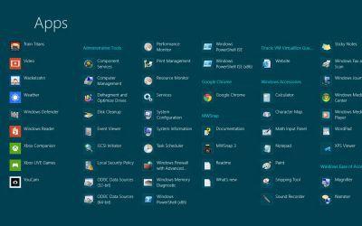 Aby wyświetlić listę wszystkich zainstalowanych aplikacji na ekranie startowym Metro klikamy prawym przyciskiem myszy, a następnie z belki u dołu ekranu wybieramy skrót All apps