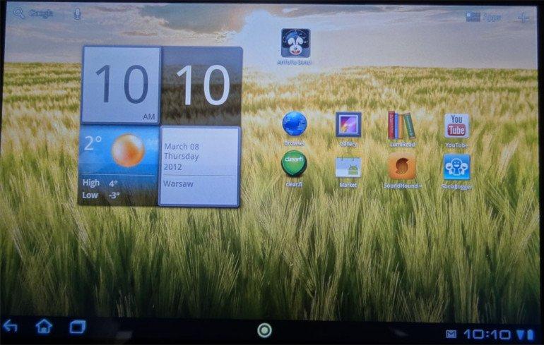 Acer Iconia Tab A200 - do dyspozycji mamy 5 wirtualnych pulpitów.