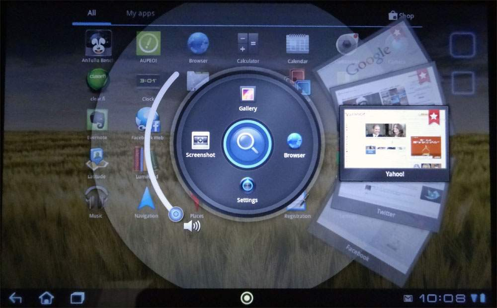 Acer Iconia Tab A200 - szybki dostep do często uruchamianych aplikacji.