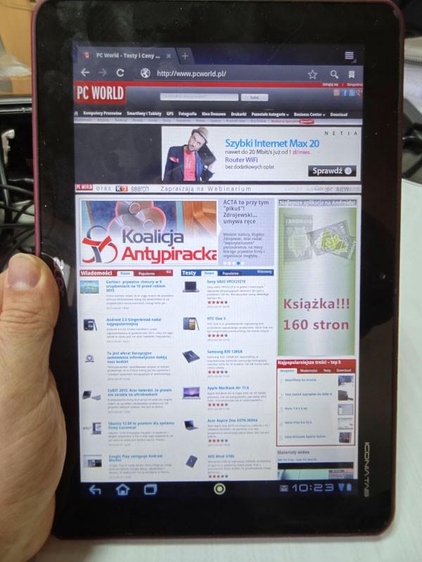 Acer Iconia Tab A200 - przeglądanie stron WWW