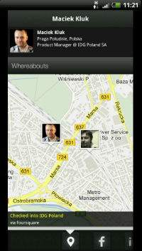 Znajomych oraz nieznajomych możemy sprawdzić na mapie. Na dole możemy podejrzeć ich profile społecznościowe