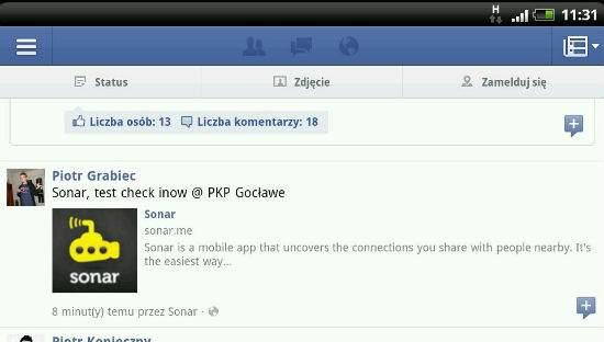 Check-in na FB wygląda mało atrakcyjnie, końcówka nazwy miejsca jest ucięta, a odnośnik kieruje do strony głównej www.sonar.me