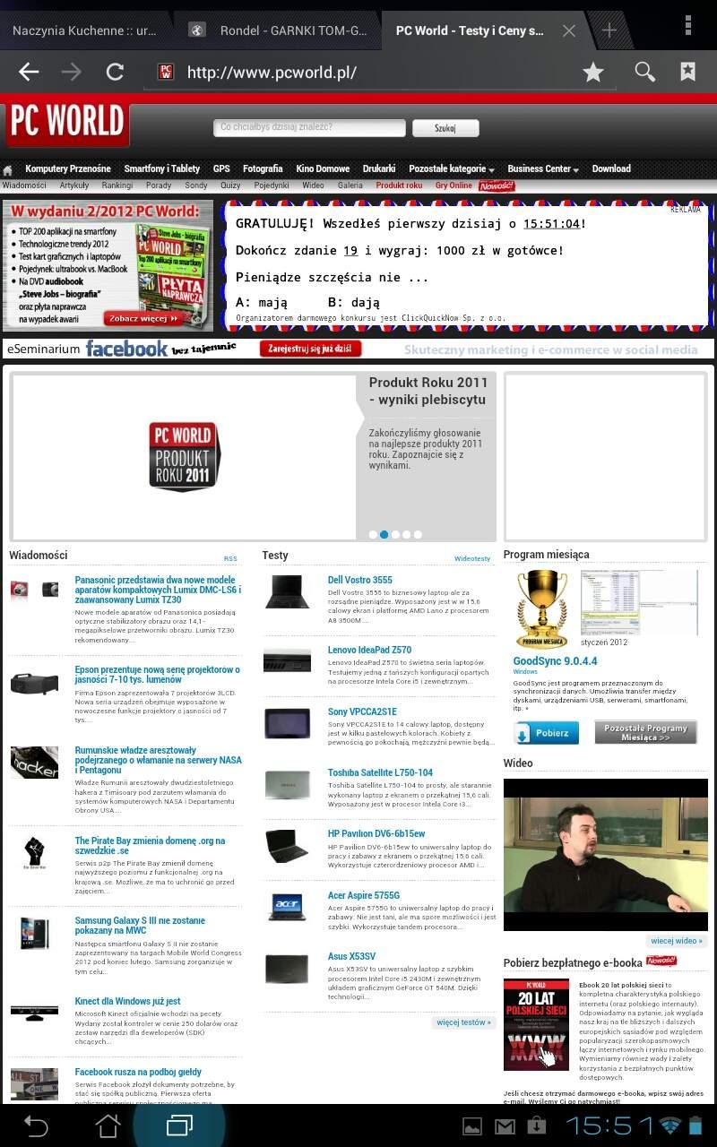 Asus Transformer Prime TF201 - przeglądanie stron WWW