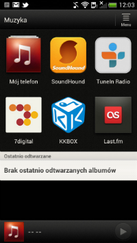 Aplikacja muzyka pozwala umieścić w niej skróty do innych programów multimedialnych