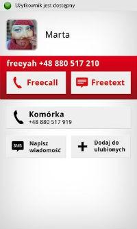 Przykładowy zrzut ekranu z aplikacji Heyah Freeyah. Pozwala ona na wysyłanie darmowych wiadomości i prowadzenie rozmów w sieci Heyah