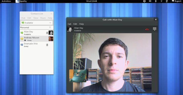 GNOME 3.4 - wideorozmowy w komunikatorze Empathy
