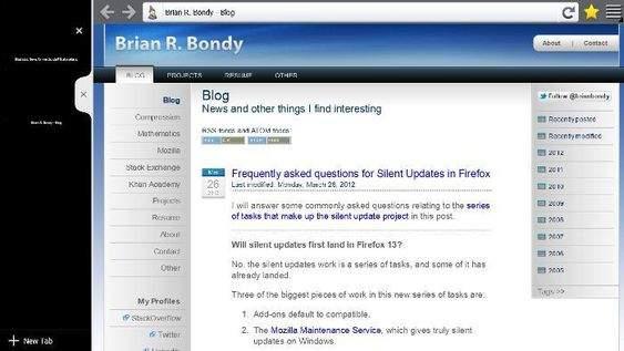 Firefox - otwarte strony na pasku bocznym