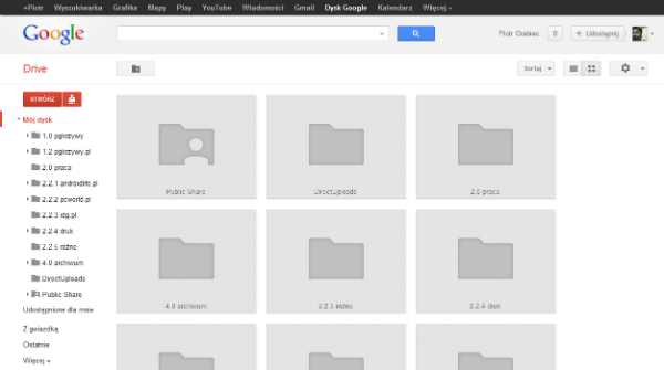 Nowy wygląd Dysku Google w widoku miniatur