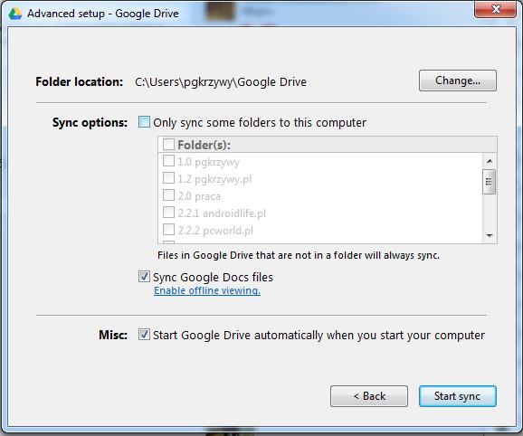 Aplikacja pozwala wybrać, gdzie synchronizowany folder będzie się znajdował, oraz jakie foldery będą uwzględnione w synchronizacji