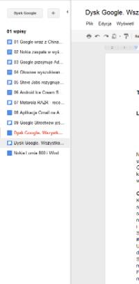 Nowy widok folderu dostępny jest podczas edycji dokumentu - pozwala na szybkie przełączanie się pomiędzy plikami