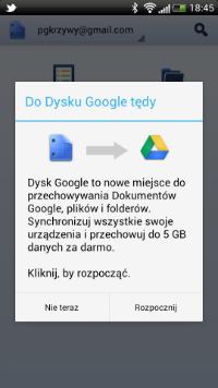 Ekran aplikacji zaraz po aktualizacji Dokumentów do Dysku Google