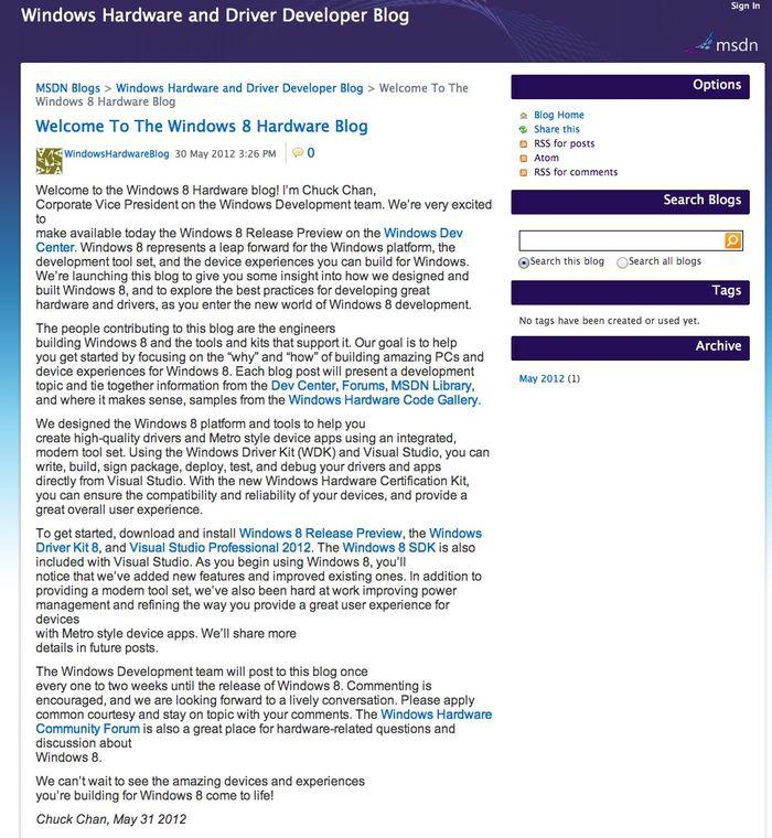 Ocalony przez internautów wpis dotyczący udostępnienia systemu Windows 8 w wersji Release Preview