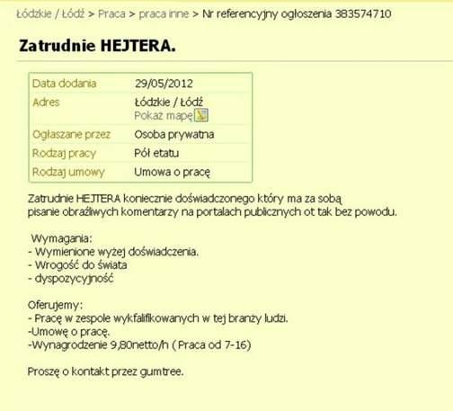 Ogłoszenie z serwisu Gumtree.pl