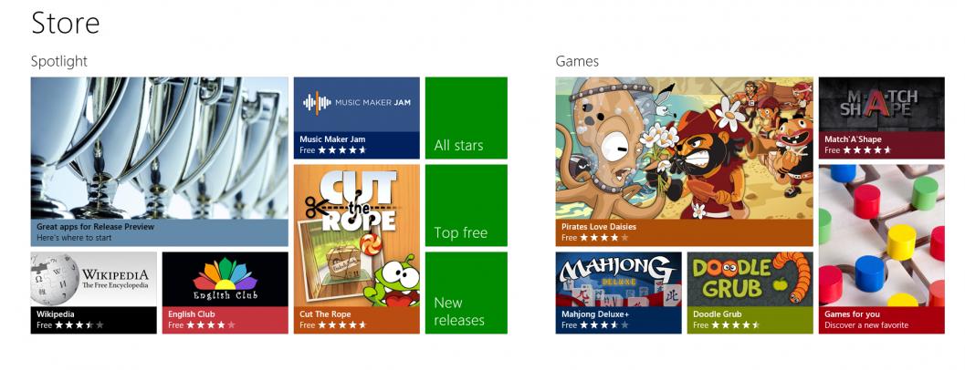Windows Store - Każda aplikacja w Windows Store jest dokładnie opisana. Użytkownicy będą mogli komentować oraz oceniać programy udostępniane w sklepie.