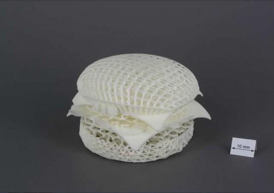 Projekt hamburgera uzyskany dzięki drukowaniu 3D