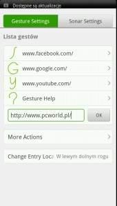 Obsługa gestów w Dolphin Browser HD
