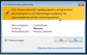 Combofix wymaga uprawnień administratora